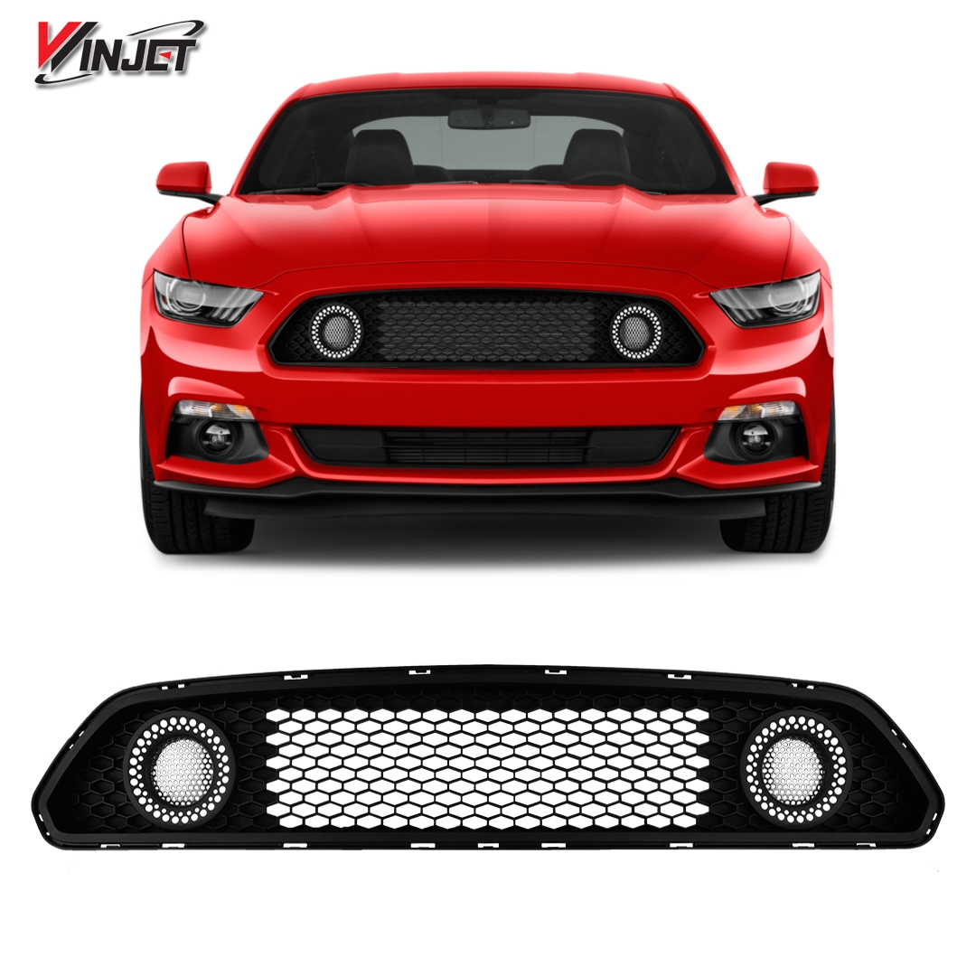 Details about winjet for ford mustang s550 15 17 halo ring drl white led upper mesh grille