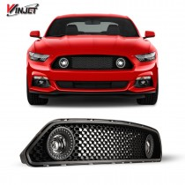 Renegade by Winjet Halo Ring DRL Upper Grille with LED Fog Lights for 2015-2017 Ford Mustang S550 (Eco Boost, V6, & GT)