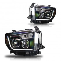 Winjet 2014-2016 Toyota Tundra Projector Headlights with LED DRL Light Bar - Black/Clear