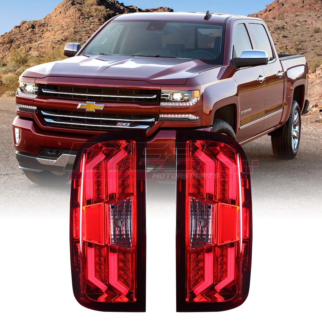 For 2014-2018 Chevy Silverado 1500 2500 3500 G4 Red//Smoke LED Taillights Pair