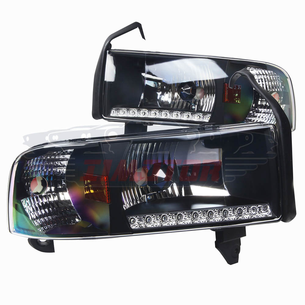 Headlights With LED DRL For 1994-2001 Dodge Ram 1500 2500
